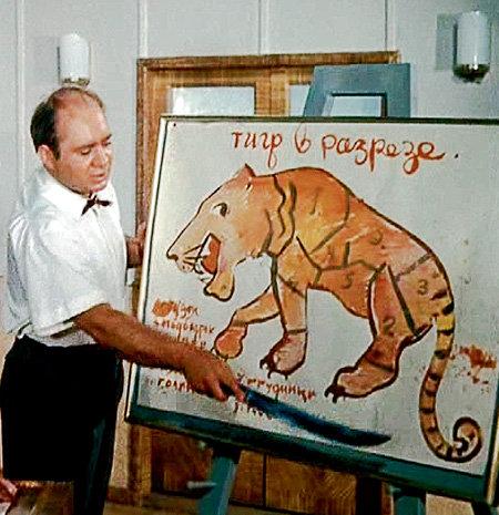 Повар Шулейкин (Евгений ЛЕОНОВ) из кинокомедии «Полосатый рейс» особое внимание уделял грудинке и филейной части тигра