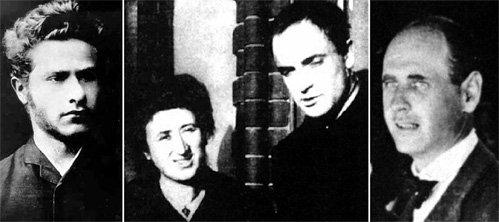 Роза готова была бросить политическую карьеру ради замужества, но ни один из её мужчин жениться не захотел (слева направо: Лео ЙОГИХЕС, Роза с Костей ЦЕТКИН, Пауль ЛЕВИ)