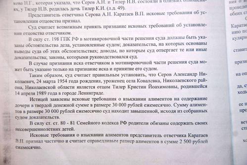 Решение Хорошевского суда Москвы по иску Надежды ТИЛЕР к Александру СЕРОВУ