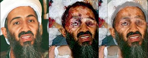 Эксперты France Press доказали, что посмертное фото бен ЛАДЕНА (справа) есть фотомонтаж: к лицу изуродованного человека приделана борода и нижняя часть лица со старого снимка террориста (слева)