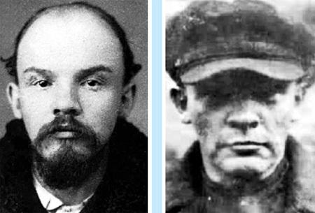 Портретная экспертиза фотографий разных лет. В. УЛЬЯНОВ (полицейское досье - слева), Н. ЛЕНИН (кинохроника - справа)