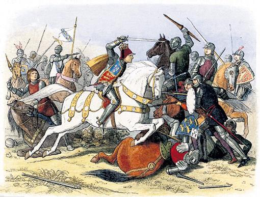 В битве при Босуорте Ричард III (на белом коне) пал от рук воинов Генриха ТЮДОРА, следующего короля Англии