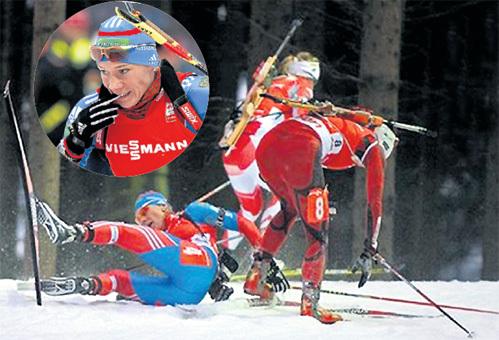 Ольге ЗАЙЦЕВОЙ в Чехии откровенно не везло - три четвёртых места (включая эстафету). Да ещё и соперницы сбивали Олю с ног. Фото: © Reuters