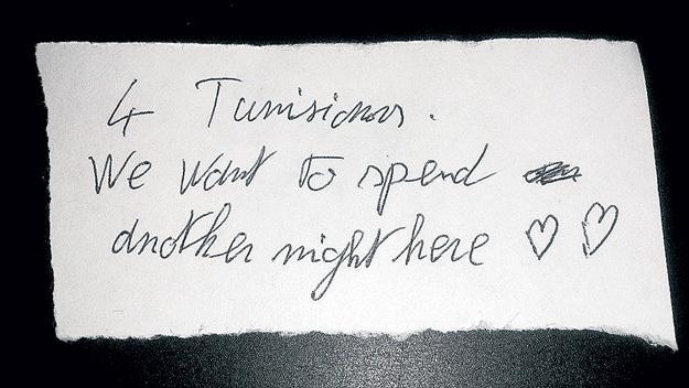 Однажды через час после новогоднего боя курантов на пороге отеля появились парни из Туниса, которые учатся в Рязани. Их, разумеется, приютили, а утром администратор нашла вот эту записку: «Четыре тунисца. Мы хотели бы провести еще одну ночь здесь»