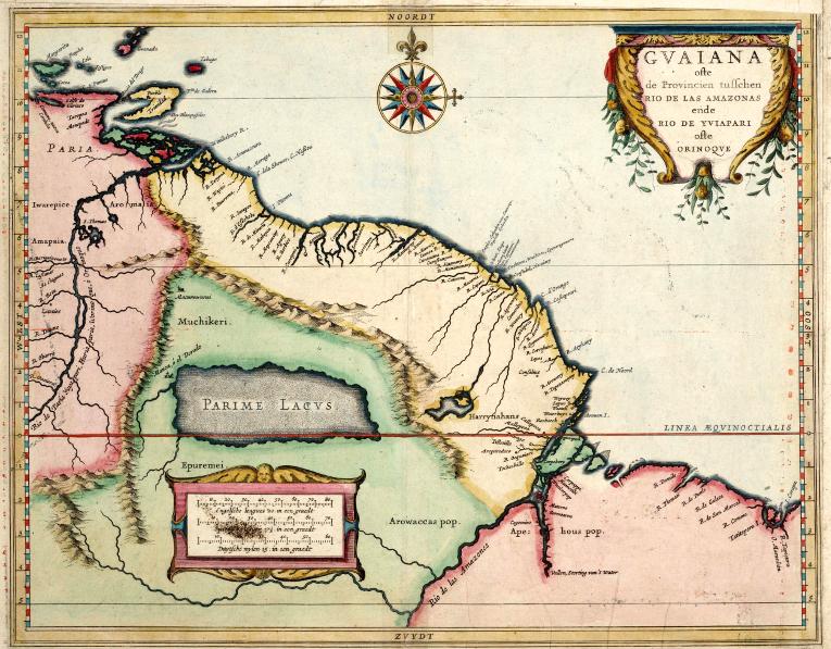 На карте работы Гесселя Герритса (1625 г.) Эльдорадо находится на берегу озера Париме в Южной Америке.