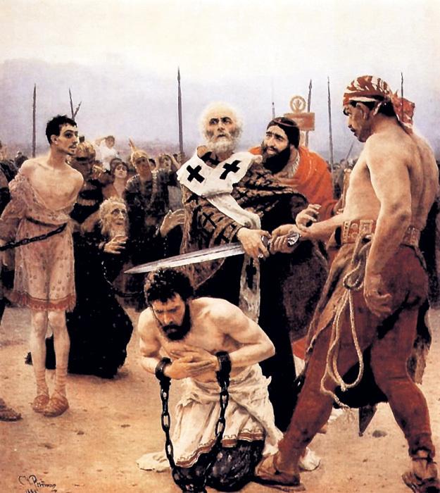 На картине Ильи РЕПИНА «Николай Мирликийский избавляет от смерти трёх невинно осуждённых» (1988 г.) отражено одно из деяний самого почитаемого христианами святого