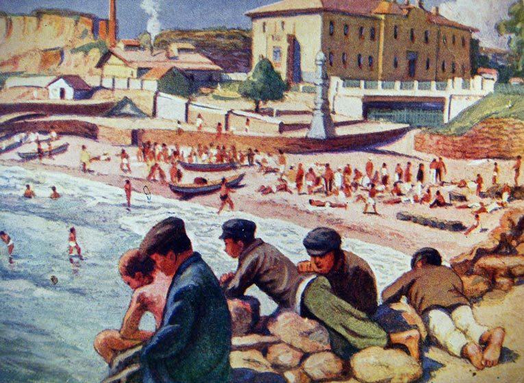 Отрытка 30-х годов XX века с изображением счастливого отдыха трудящихся на курорте «Аркадия» в Одессе. Источник: Википедия