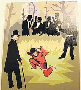 НАДПИСЬ: &#034Демократы поймали коммуниста в лесу, около Смоленска.&#034