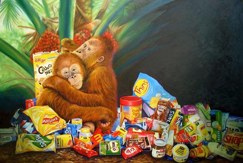 Плакат Greenpeace указывающий, что уничтожение тропических лесов для плантаций пальмового масла кондитерскими компаниями лишает места проживания тропических животных. Фото: Википедия