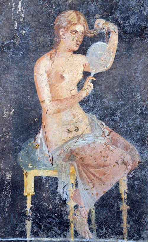 Фреска «Женщина с зеркалом», Национальный археологический музей Неаполя. wikimedia