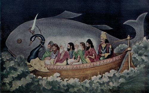 Индийская легенда о Всемирном потопе. Рыба спасает Ману. wikipedia