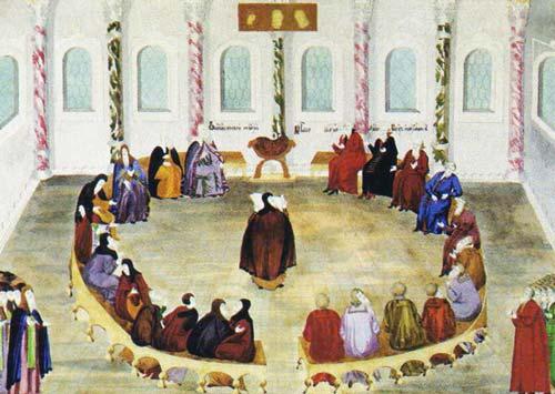 "Миниатюра из рукописи ""Избрание на царство М.Ф. Романова», 1673 год. Источник: wikimedia.org"