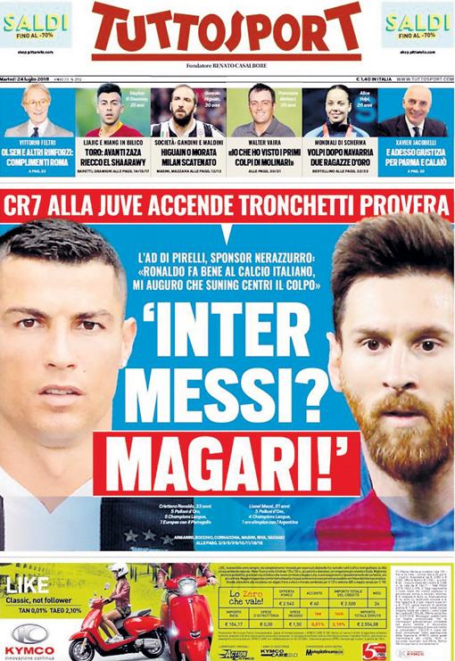 Итальянские газеты вышли с передовицами о возможном переходе Лионеля Месси и его новом столкновении с Криштиану Роналду