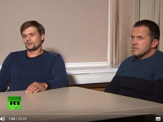 Александр Петров и Руслан Боширов во время интервью
